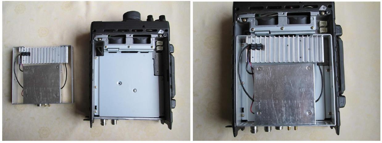 Transverter en PA in het batterijenvak van de FT-897